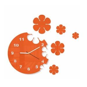 Hodiny z plexiskla Flowers Orange