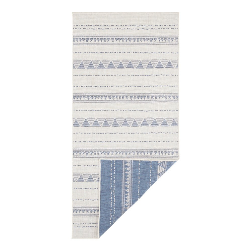 Modro-krémový vonkajší koberec Bougari Bahamas, 80 x 250 cm