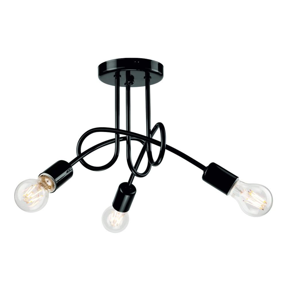 Čierne závesné svietidlo pre 3 žiarovky Lamkur Camilla