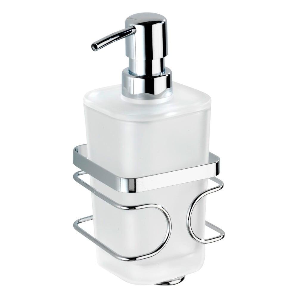 Biely nástenný antikoro dávkovač na mydlo s držiakom Wenko Premium