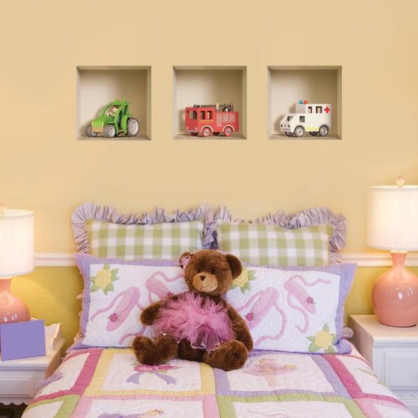 3D samolepky na stenu Nisha Children's Toy, 3 ks