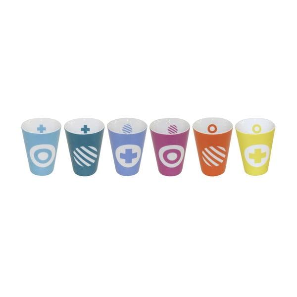 Sada 6 šálok na espresso Technicolor