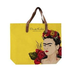 Žltá plátená taška Madre Selva Frida Roses, 55 x 40 cm