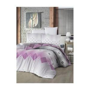 Obliečky na dvojlôžko s plachtou a obliečkou na vankúš Adriana Lilac, 160×220 cm