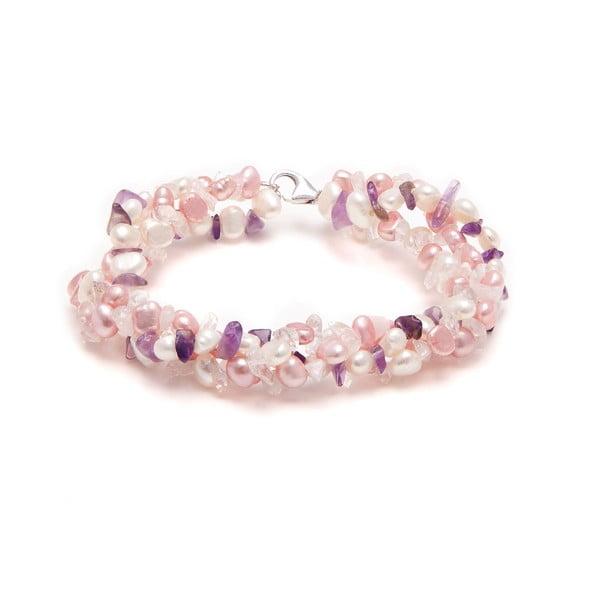 Náramok z riečnych perál Amethyst, ružový