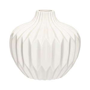 Biela kameninová váza Hübsch Kjeld, výška 16 cm