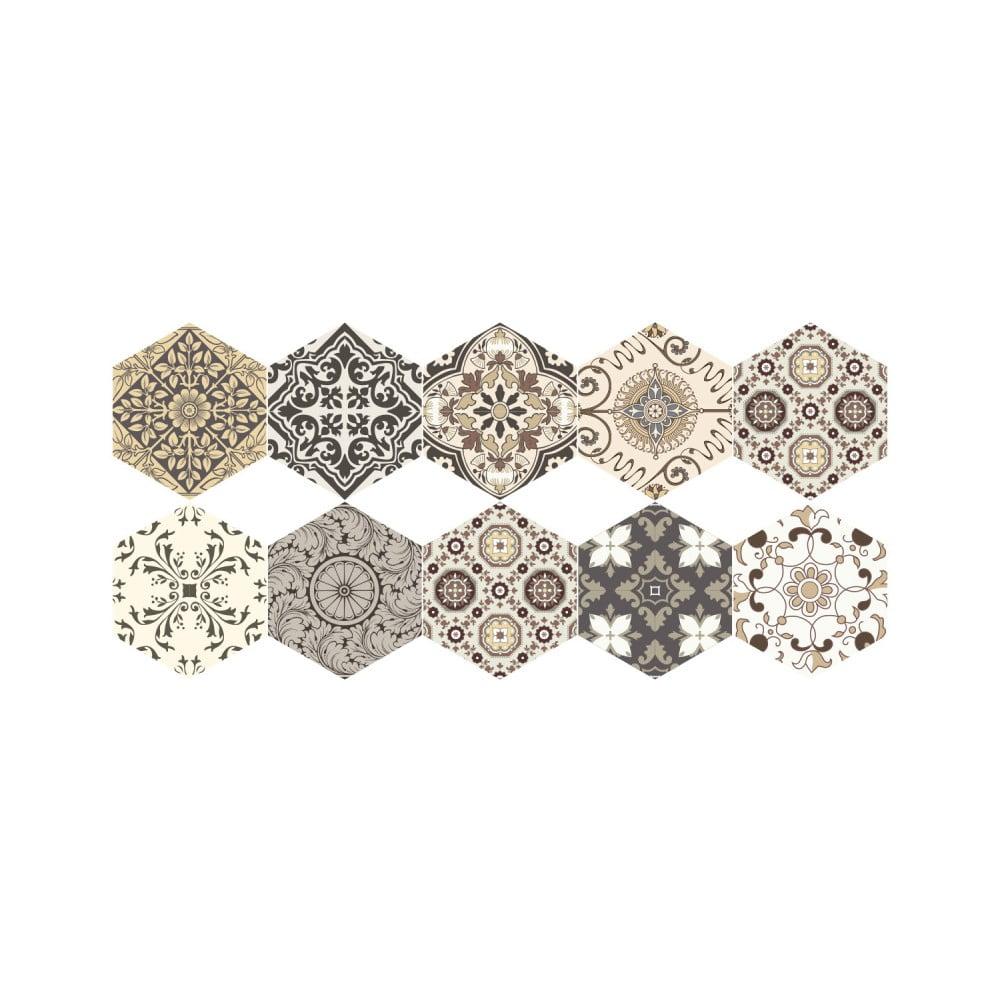 Sada 10 samolepiek na podlahu Ambiance Floor Stickers Hexagons Luiza, 40 × 90 cm
