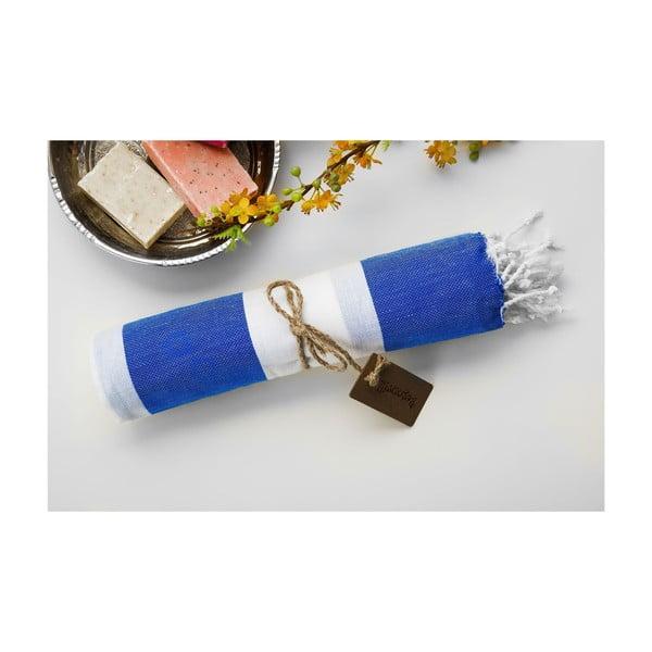 Hammam osuška Myra Blue White, 100x180 cm