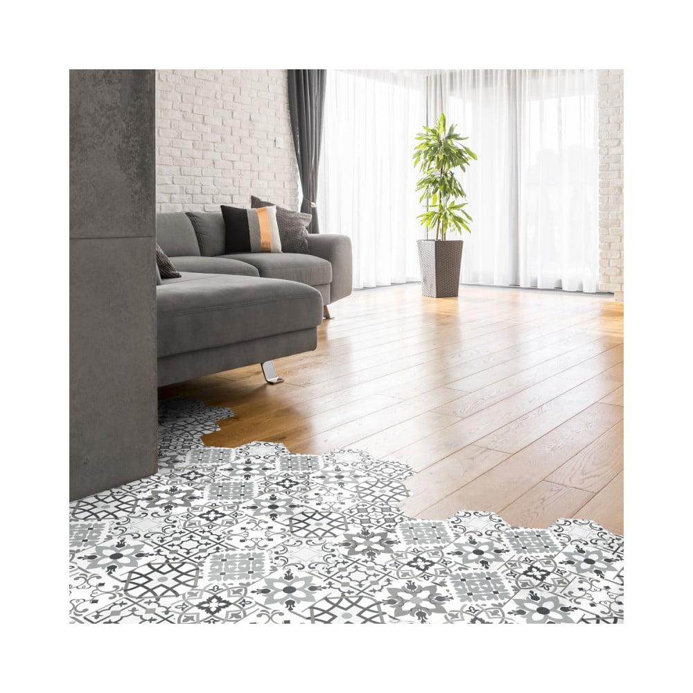 Sada 10 samolepiek na podlahu Ambiance Floor Tiles Hexagons Francia, 40 × 90 cm