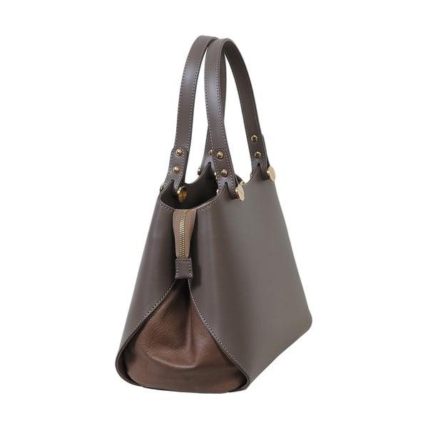 Sivohnedá kabelka z pravej kože Andrea Cardone Sante