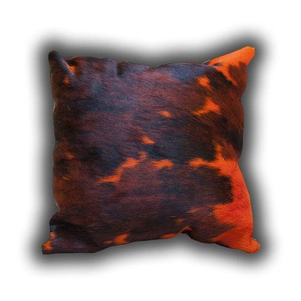 Vankúš z pravej kože Orange Cow, 45x45 cm