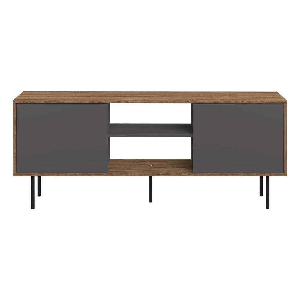 Televízny stolík v dekore orechového dreva so sivými dvierkami TemaHome Attitude