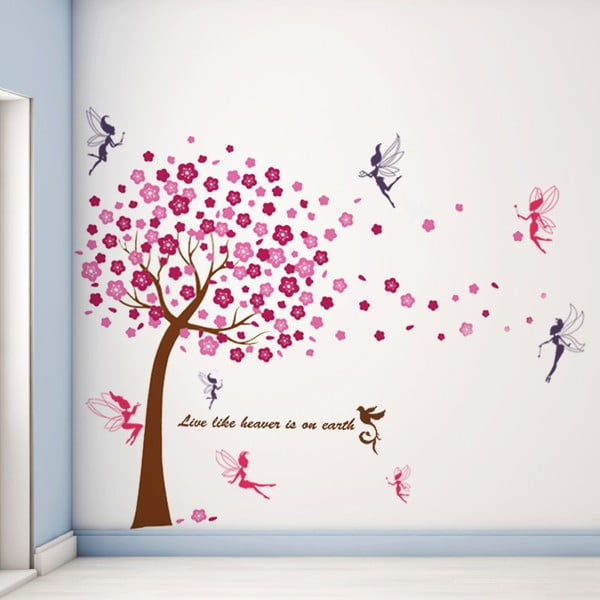 Samolepka na stenu Ružový strom