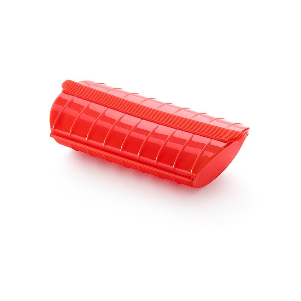 Červená silikónová nádoba s podnosom na pečenie v páre pre 1 - 2 porcie Lékué Steam Case