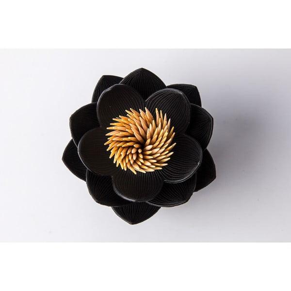 Stoján na špáradlá QUALY Lotus Toothpick, čierny-čierny