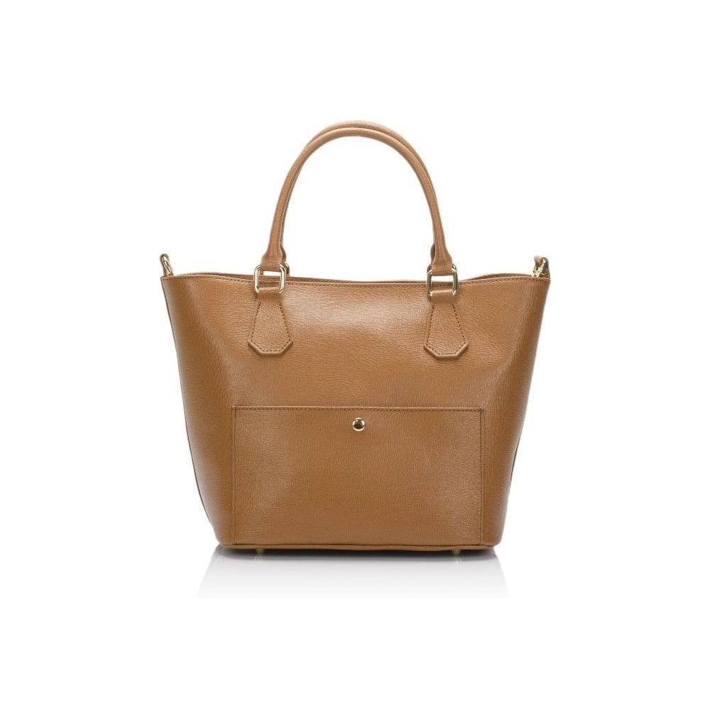 Hnedá kožená kabelka Giulia Massari Bycast