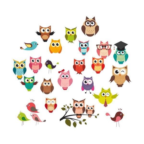 Dekoratívna samolepka Funny Owls