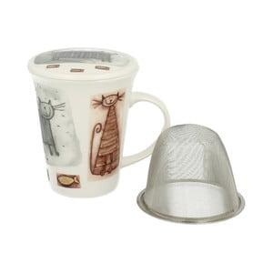 Porcelánový hrnček s filtrom s motívom mačky Duo Gift, 250 ml