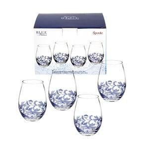 Sada 4 bielo-modrých sklenených pohárov na víno bez nohy Spode Blue Italian, 570 ml