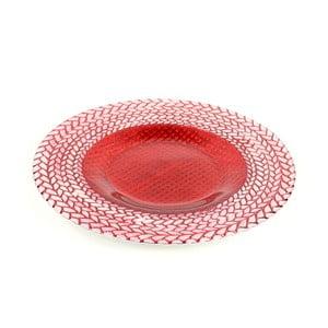 Červený sklenený tanier Unimasa Festive, ø 33 cm