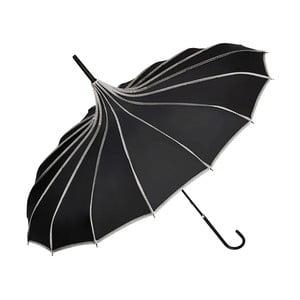Čierny dáždnik s rúčkou Von Lilienfeld Pagoda Justine, ø 90 cm