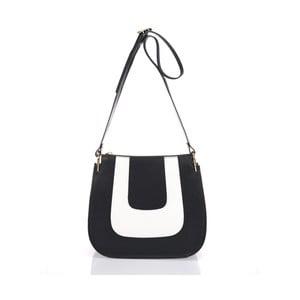Kožená kabelka Belinda, čierno-biela