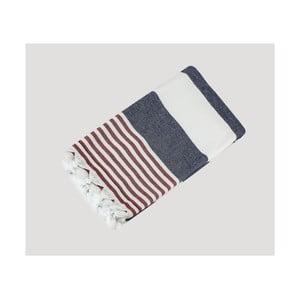 Modro-červeno-biela ručne tkaná osuška z prémiovej bavlny Homemania Turkish Hammam, 90×180cm