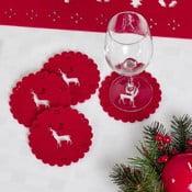 Červená podložka pod pohár z plsti Neviti Reindeer