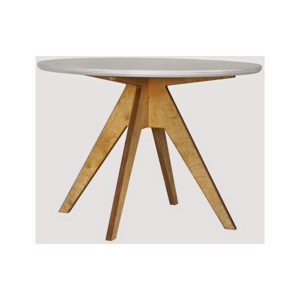 Jedálenský stôl s hnedou podnožou a bielou doskou Radis Edi, priemer 105 cm