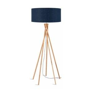 Stojacia lampa s modrým tienidlom a konštrukciou z bambusu Good&Mojo Kilimanjaro