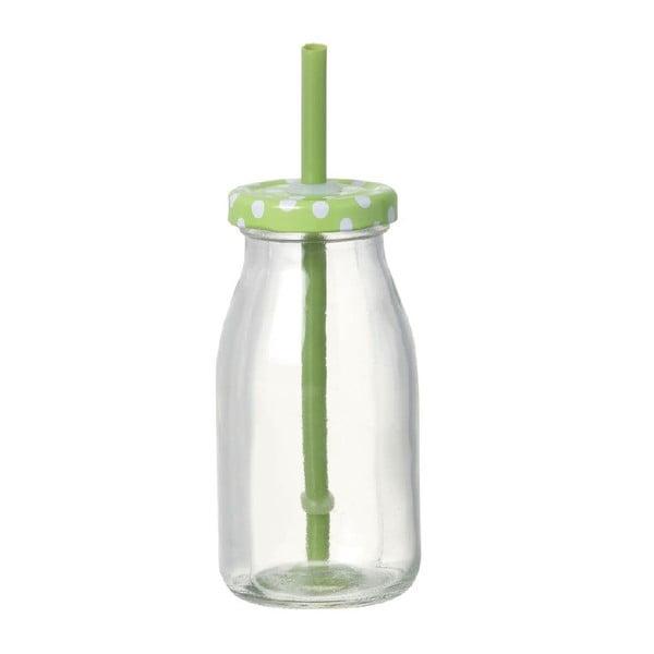 Sklenená fľaška so slamkou  Bottle Green