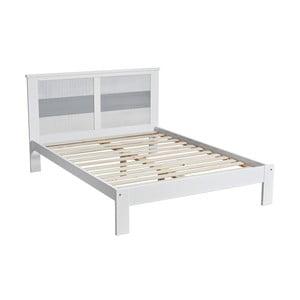 Bielo-sivá dvojlôžková posteľ Marckeric Romantica, 140 × 190 cm