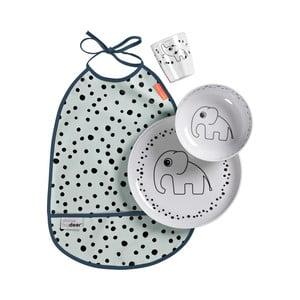 Modrý detský jedálenský set s podbradníkom Done by Deer Happy Dots