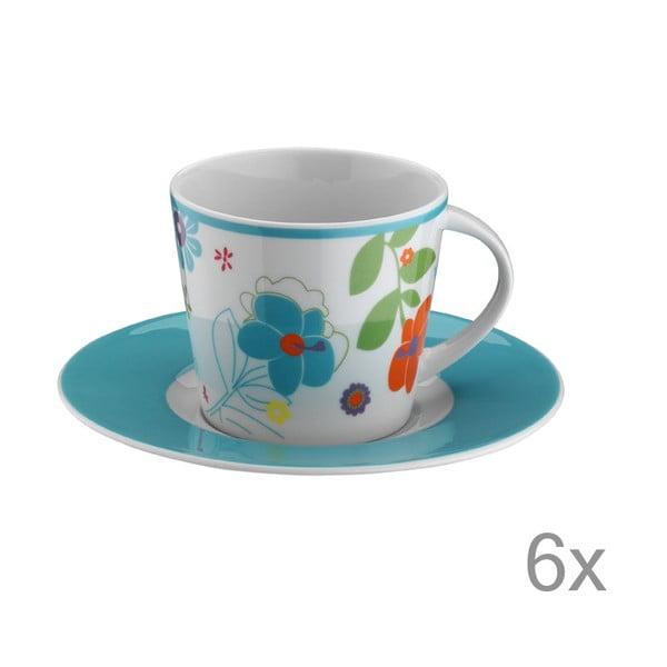 Sada šálok na čaj Modré kvety, 6 ks