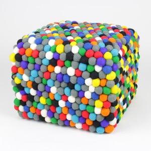 Ručne vyrobený guličkový puf Happy Pills, hranatý