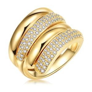 Dámsky prsteň v zlatej farbe so zirkónmi Runaway Rea, veľ. 54