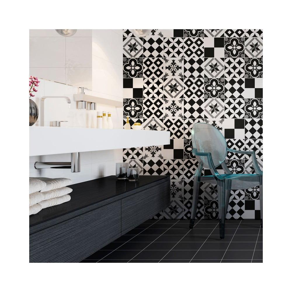 Sada 24 nástenných samolepiek Ambiance Wall Decal Cement Tiles Azulejos Yanga, 10 × 10 cm