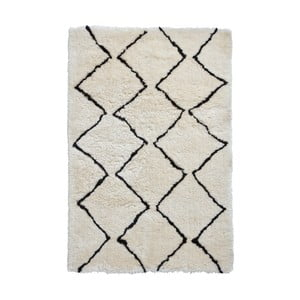 Béžovo-čierny ručne tuftovaný koberec Think Rugs Morocco Lento Ivory & Black, 200×290 cm