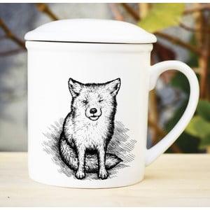 Porcelánový hrnček s viečkom a sitkom Little Fox, 300 ml