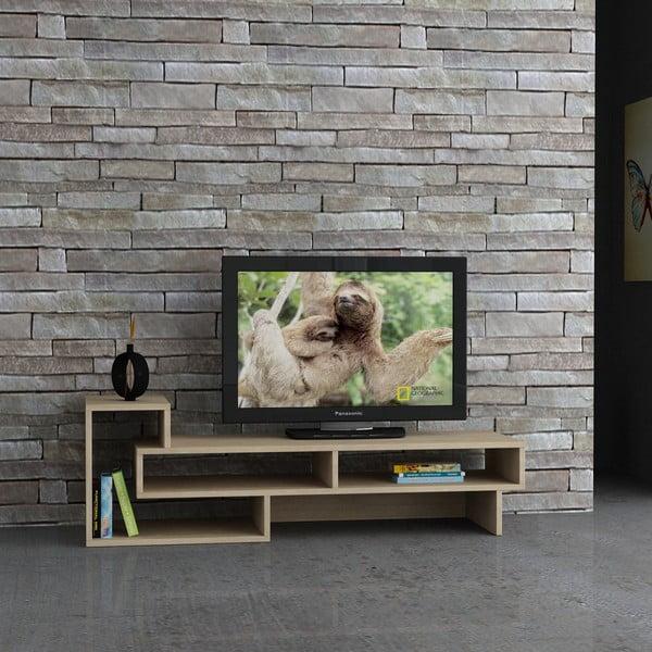 Televízny stolík Tetra, biela/dub