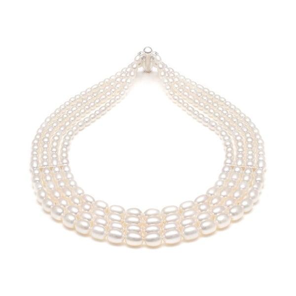 Náhrdelník z riečnych perál GemSeller Viride, biele perly