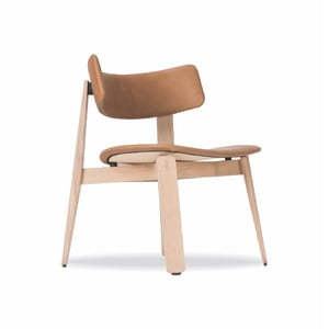 Jedálenská stolička z dubového dreva s koženým sedadlom Gazzda Nora