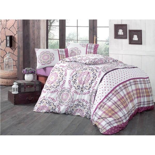 Bavlnené obliečky s plachtou a 2 obliečkami na vankúš Asya, 200×220 cm
