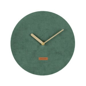 Tmavozelené nástenné hodiny s menčestrom Karlsson Corduroy, Ø25cm