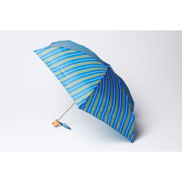 Skladací dáždnik Stripe, zeleno-modrý