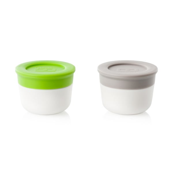 Sada 2 nádob na omáčku Monbento,zelená/sivá