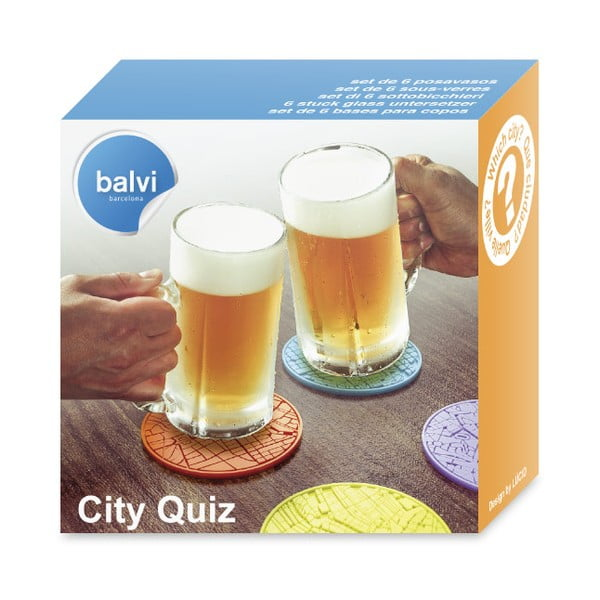 Sada 6 ks podložiek Balvi City Quiz