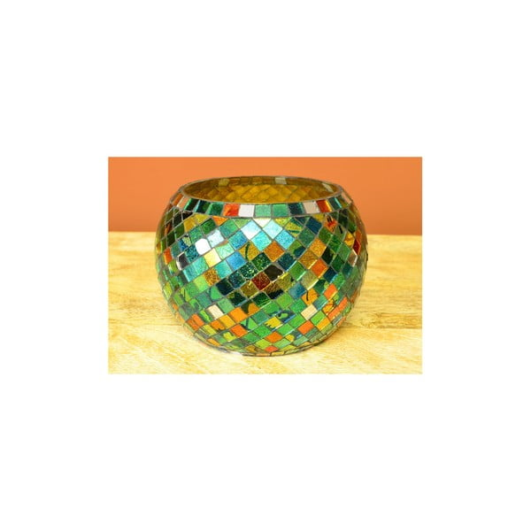 Sklenený svietnik zo zelenej mozaiky India