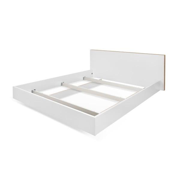 Biela posteľ s hnedými hranami TemaHome Float, 160×200 cm