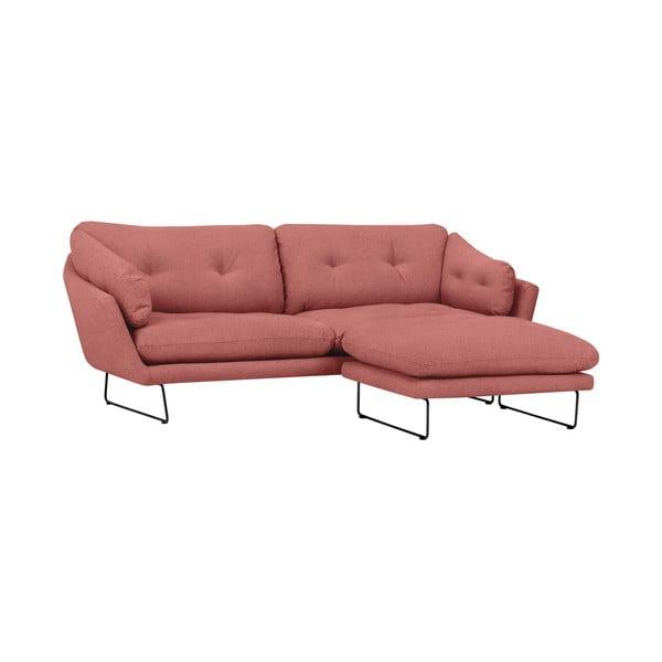 Set ružovej trojmiestnej pohovky a sedacieho pufu Windsor & Co Sofas Comet